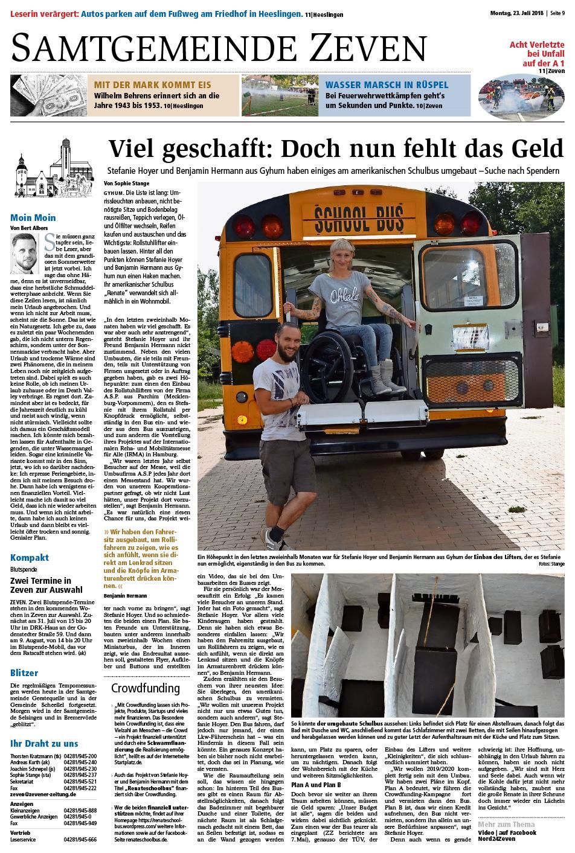 Zevener Zeitung Artikel 23.07.2018